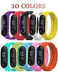 Xiaomi Mi Band 3 Pulsera, BRone 10 PCS Banda de Repuesto Correa de Recambio Brazalete Extensibles Coloridos - 10 Colores