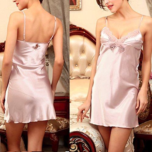 Zhhlaixing Women's Summer Lingerie Comfortable Nightwear Lace Skirt Sleepwear DQ117 Pale Lavender