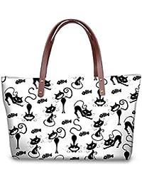 TWOHEARTSGIRL Neoprene Handbag Cute Cat Print Tote Bag For Women Top-handle Bag High Neoprene Tote Shoulder Bag...