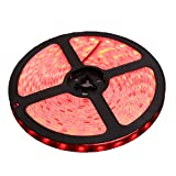 XKTTSUEERCRR 5M(16.4 ft) Ruban à LED 3528 Imperméable 600 LED Strip Bande Lumineux 12V étanche IP65 pour La Maison et La Décoration Partie-Rouge