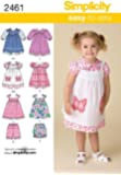 Simplicity A 1/ 2-1-2-3-4 Sewing Pattern 2461 Toddlers Dresses
