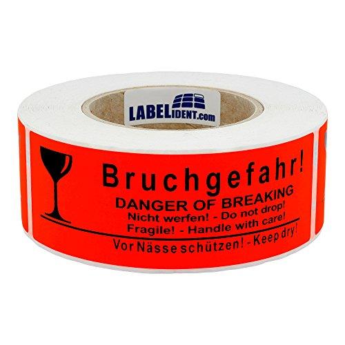 Labelident Versandetikett - Bruchgefahr! Danger of Breaking - Nicht werfen! Do not drop - 150 x 50 mm, 500 Aufkleber auf Rolle, Papier leuchtrot, selbstklebend