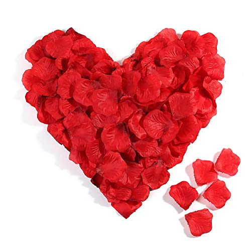 3000 Stück Rosenblüten Set,Rot Künstlich Rosenblätter Blütenblätter Dekoration für Heiratsantrag überraschung Hochzeit Valentinstag Deko Romantische Atmosphäre Party Geburt,Taufe,Datierung Streudeko -