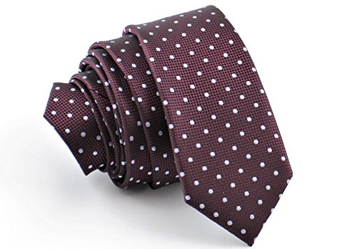 Business Krawatten (ADAMANT® Designer Krawatte, schmal, verschiedene Farben - TOPQUALITÄT - Moderne uni Krawatten für Business und Alltag - Dunkelrot Tupfen)