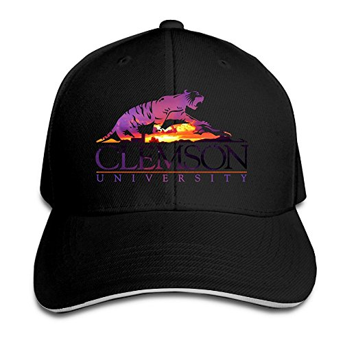 Huseki Hotgirl4 Adult Clemson University Tiger Sandwich Bill Baseball Cap White Black Clemson University Baseball