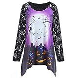 FeiBeauty Women's Halloween Kürbis Black Night Woods Print Spitze Panel Rundhals Top Sweatshirt