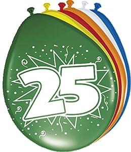 Folat 08225 - Globos de cumpleaños (25 unidades, 30 cm, 8 unidades), varios colores