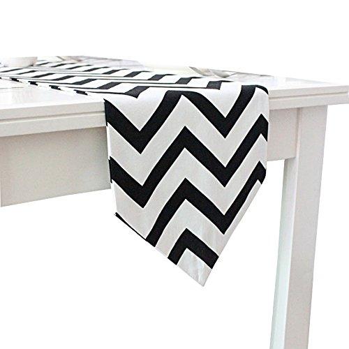 metrische gewellt gestreift Muster Tischläufer schwarz & weiß Geometrische Mitteldecke, Textil, schwarz / weiß, 30x160cm (Schwarz-weiß Gestreiftes Tischtuch)