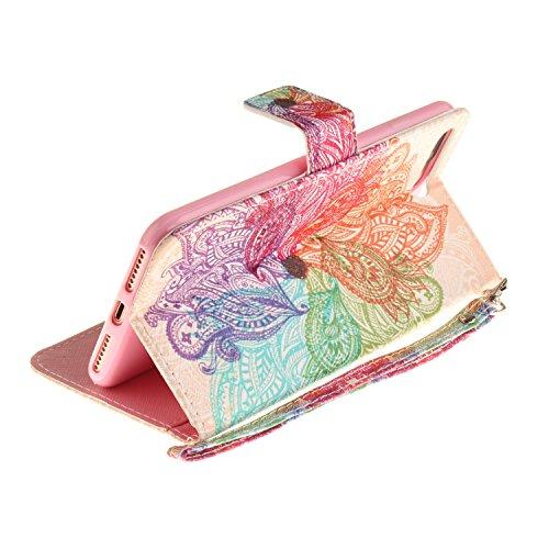 Qiaogle Telefon Case - PU Leder Wallet Schutzhülle Case für Apple iPhone 5 / 5G / 5S / 5SE (4.0 Zoll) - TX50 / Mandala TX42 / Bunt Mandala