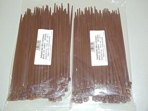 Preisvergleich Produktbild 200 Stück Kabelbinder braun 200 x 4,8 mm west europäische Ware / Industriequalität