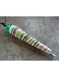 Handmade by Mimi Pinto Paper Bead Surf Style Pendant Necklace on Waxed Cotton with Clasp