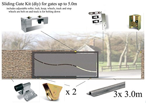 Bolt Down Sliding Gate Kits, contains Rails, Keep, Latch Housing, All basic Hardware Various sizes Available (Up to 5.0m) by Solar Bay -