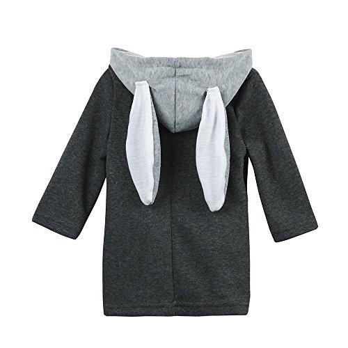 TTLOVE Süß Baby MäDchen Mäntel FrüHlung Herbst Winter Kapuzenmantel Kaninchen Jacke Tops Mit Kapuze Kind Kleinkinder Dicke Warme Kleidung(Grau,100 cm) (2t Kleinkind-smoking)