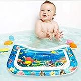 Estera Inflable del Agua del Bebé, Material de PVC Libre de BPA, Cojín de Agua Inflable Bebé, Juego de Esterilla de Agua con Mini Bomba Portátil, Gran Regalo (Oceano)