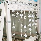 PERIWIN Guirnalda de Estrellas románticas de Papel para decoración de Bodas, Baby Showers, Color Plateado, 4 m, Plata