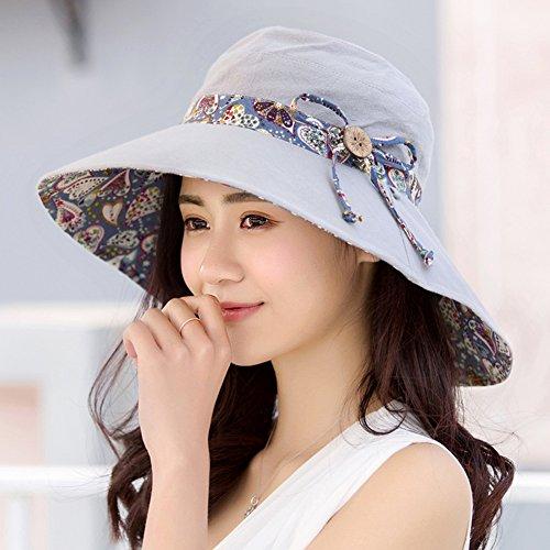 HAIPENG Kappe Sommer Breiter Krempe Hut Sonnenschutz UV Schutz Koreanische Version Trend Allgleiches Weibliche Faltbare Outdoor 5 Farben Optional Sonnenhut (Farbe : Gray) -