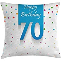 70th Birthday Decorations Throw Pillow Cushion Cover, Colorful Polka Dots Backdrop and Happy Birthday 70