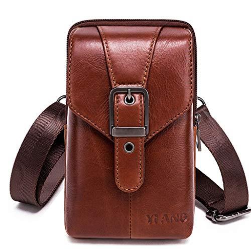 Burane Jin Vintage Leder Umhängetasche, kleine Handtasche, Schultertasche, Gürtelschlaufe, Hüfttasche, Handytasche, Geldbörse für Männer und Jungen F Size:app. 11 x 3.5 x 18cm / 4.33 x 1.37 x 7.08in