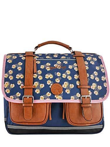Cartable Scolaire Fille 41 cm Caméléon Vintage Print Girl. Coloris Bleu et Rose, Motifs Fleurs....