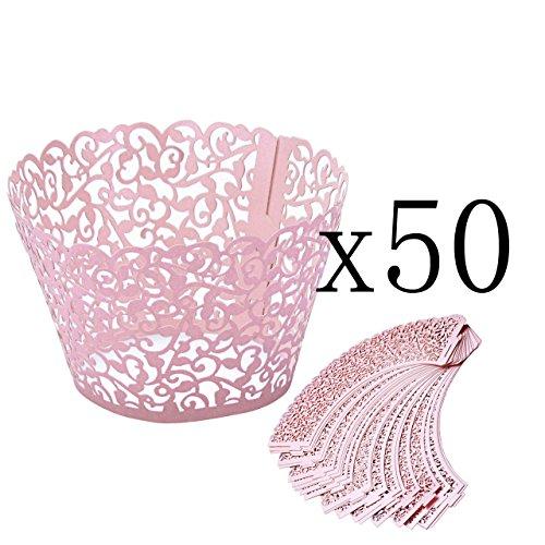 ke Wrappers Hohl Cupcakeförmchen Kuchen Pappbecher Verpackungen Kuchenverpackung für Hochzeit Geburtstag feiern Baby Dusche Dekoration (Rosa) ()