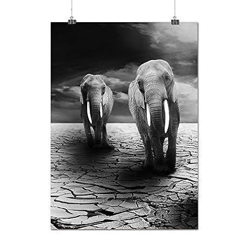 Düster Elehpant Aussicht Traurig Mattes/Glänzende Plakat A4 (30cm x 21cm) | Wellcoda