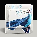 Disney Frozen Lichtschalter Wandsticker selbstklebend Kinder Aufkleber Disney Frozen Eiskönigin Cartoon Motiv Deko Schalter- CartoonPrintDesign - L001