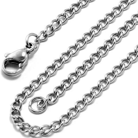 JewelryWe Bijoux Collier Homme et Femme Lien Chaîne Torsion Cable Acier Inoxydable Fantaisie Couleur Argent Longueur 56cm Avec Sac Cadeau