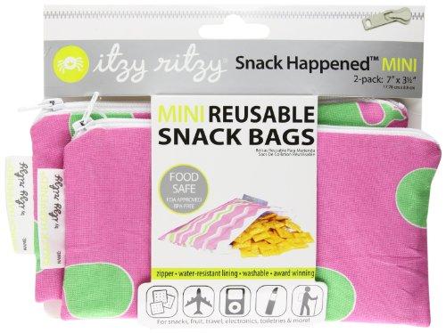Itzy Ritzy Snack Happens Mini-Aufbewahrungsbeutel für Snacks und andere Gegenstände, Wal-Motiv, Pink, 2er-Pack