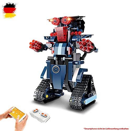 RC ferngesteuerter Roboter aus Bausteinen mit zusätzlicher Steuerung per Smartphone über App, Modell mit integriertem Akku, Steckbausatz, Jeep, DIY Auto
