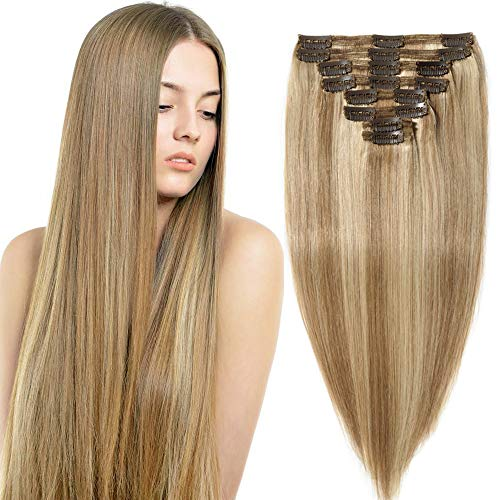 8 fasce 110g extension clip capelli veri double weft 10