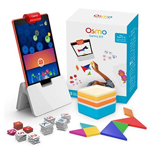 OSMO - Genius Kit für Fire Tablet - 5 Praxisorientierte Lernspiele - Alter 6-10 - Mathematik, Rechtschreibung, Problemlösung und Kreativität - MINT