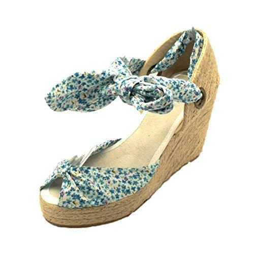 Donne medio cuneo sandali del tallone di tela / pattini con il legame di fissaggio Blue Floral
