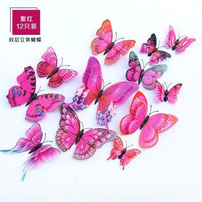 3D Stereo Doppelschicht Simulation Schmetterling Pvc Farbe Schmetterling Wandaufkleber Kreative Heimat Wohnzimmer Dekoration Fuchsia, 12Nur 6 Bis 12 Cm
