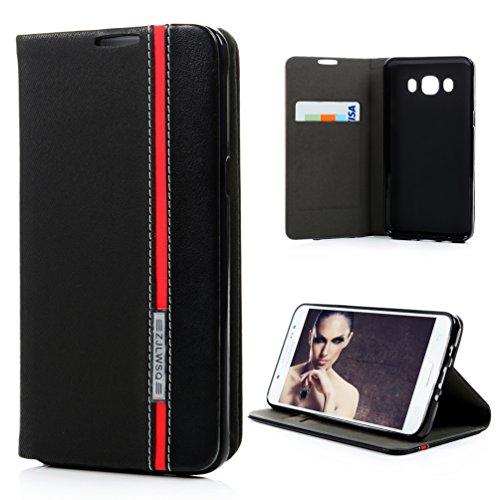 Preisvergleich Produktbild Samsung Galaxy J5(für 2016Version) Case, yokirin [Wallet Case] Premium Soft PU Leder Notebook Wallet Design Schutzhülle mit [Ständer] Kartenhalter und ID Slot Slim Flip Schutzhülle für Samsung Galaxy J5, rot