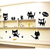 ufengke home Hello Black Cats Wall Art Stickers for Kids With Paw Prints, Mouse and Fish Bowl Funny Cute Cartoon Removable DIY Vinyl Wall Decal Nursery Room, Children