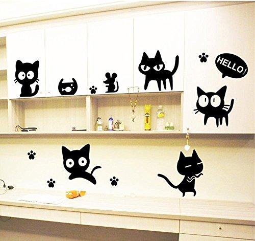ufengke Wandtattoos Hallo Schwarze Katzen Wandaufkleber Wandstickers DIY Tatzen-Drucken Maus Fisch-Schüssel Dekorative Wandbild für Kinderzimmer Schlafzimmer Spielzimmer - Wandtattoo Hallo