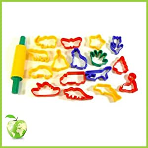 16 Plastic Cutters and Rolling Pin