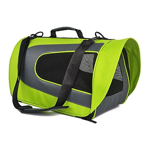 Pet gabbia del cane elemento portante del gatto Valigia portatile Airline Approved trasparente e traspirante di viaggio Walking Escursioni , green