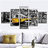 mmwin HD Print Canvas Wall Art 5 Piece City Street View Building Yellow Cable Car Carteles Decoración para el hogar...