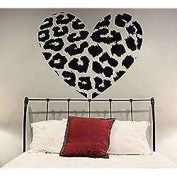 Pegatina de Vinilo de Pared con Forma de Corazón con Estampado de Piel de Leopardo de 70 x 58cm para Decoración del Hogar y Pegatina Aleatoria Gratis