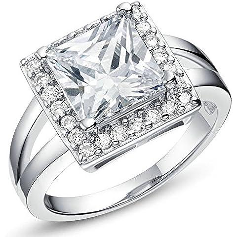 Vmculb Joyería Manera Anillo Chapado en Oro Mujer Plata CZ con Circonitas Diamantes Imitación Pavé Anillos de Eternidad