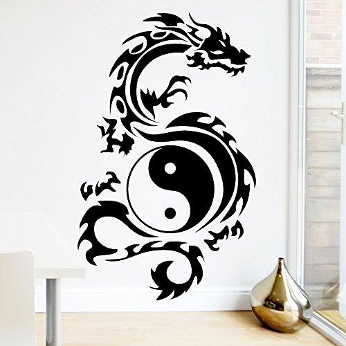 Wandtattoo Loft Tribal Zeichen Yin Yang Drache - Wandtattoo / 49 Farben / 3 Größen/ Wandaufkleber / Wandsticker / schwarz / 80 x 129 cm (B x H)