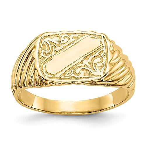 14K Gold Poliert Baby Rechteck Signet W/Streifen Ring