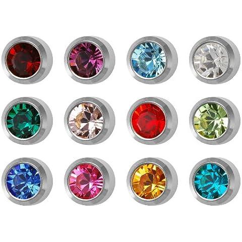12 paia di Studex Ear Piercing Birthstones argento di orecchini a perno in acciaio INOX, 5 mm, castone