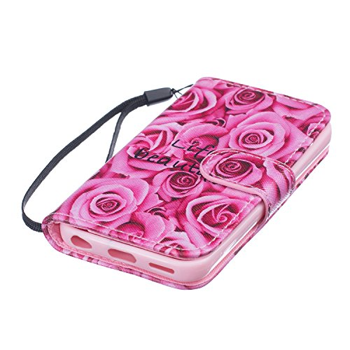Cover iPhone 5C, ISAKEN Drawing Pattern Design Elegante borsa Custodia in Pelle PU per iPhone 5C Sintetica Rigida Case Cover Protettiva Flip Portafoglio Case Cover Protezione Caso con Supporto di Stan Rose rosa