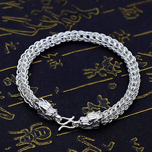 Yarmy Armband Silber,S990 Sterling Silber Persönlichkeit Männermode dominant Double Dragon Armband Geschenk für Familie oder Freunde