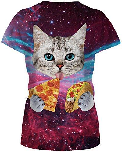 TDOLAH Damen T-Shirt 3D Print Shirt Tee Paar Kostüm Fasching Weltraum Thema Wolf Löwe Katze Tierdruck Katze isst Pizza