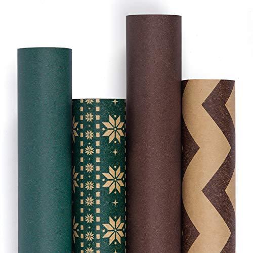 enkpapier Rolle - Recycling-Naturpapier Für Hochzeit, Geburtstag, Dusche, Glückwunsch Und Weihnachtsgeschenke - 4 Rolle - 76Cm X 305Cm Pro Rolle ()