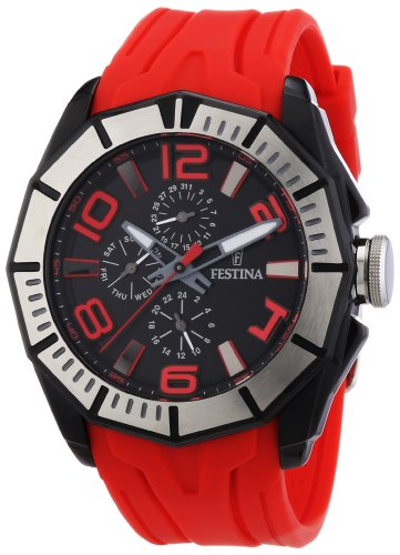 Festina Men's Quartz Watch with Black Dial Analogue Display and Red PU Strap F16670/7
