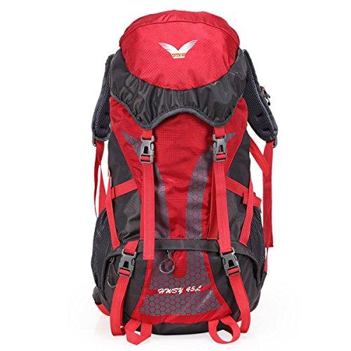 Outdoor Sport Bergsteigen Tasche Professioneller Wasserdicht Camping Rucksack Red